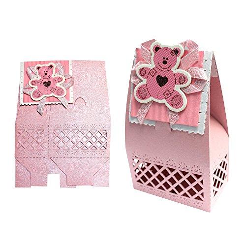 Bébé douche pliable boîtes cadeau de Carte : Design Teddy Bear Rose
