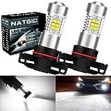 NATGIC PSX24W Bombillas antiniebla led Xenon blanco 2835 Conjuntos de chips SMD con lente Proyector para luces de circulación diurna con lámpara antiniebla, 10-16 V 10.5 W (paquete de 2)
