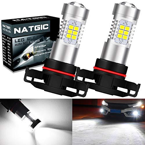 NATGIC PSX24W 2504 Ampoules d'antibrouillard à LEDs Blanc Xénon 2835 SMD avec Projecteur de Lentille pour Feux de Brouillard, Feux Diurnes, 10-16V 10,5W (Paquet de 2)