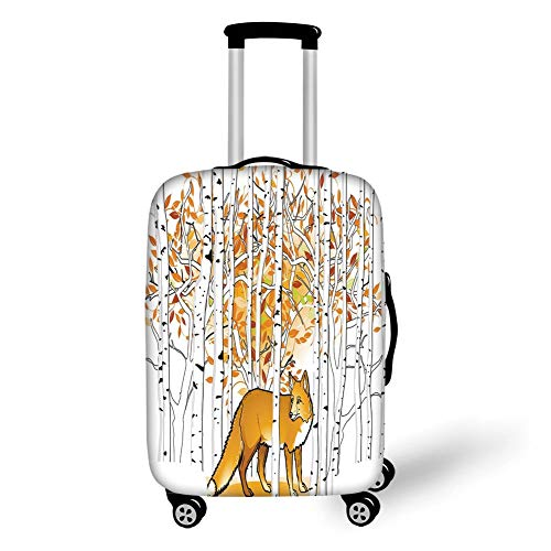 Travel Luggage Cover Suitcase Protector,Hunting Decor,Fox Hunting in Autumn Forest Birch Trees Rustic Wilderness Animal Decorative,Orange White Black,for Travel,M