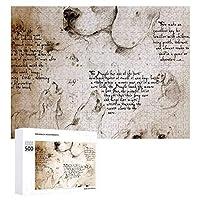 INOV レオナルド・ダ・ヴィンチ犬 スケッチ ジグソーパズル 木製パズル 500ピース キッズ 学習 認知 玩具 大人 ブレインティー 知育 puzzle (38 x 52 cm)