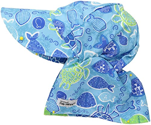 Flap Happy Boys' Toddler UPF 50+ Original Flap Hat, Tropical Turtle, X-Large (2yrs+)