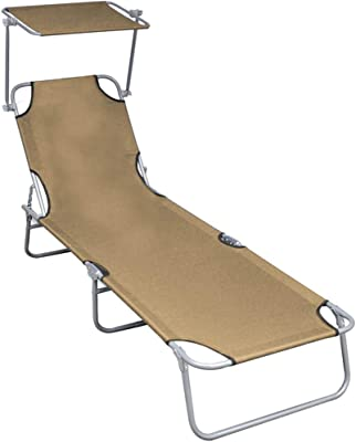 Goplus Folding Lounge Chair w//Shade Canopy and Storage Pocket Portable Chaise Lounge for Beach Patio Poolside Black