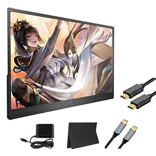 Monitor de Pantalla portátil de 15.6 Pulgadas USB/Type-C Compatible con Laptop/Teléfonos/Juego Host/Caja de TV, Pantalla de Cuidado Ocular IPS 1080P, Puede Cargar su teléfono