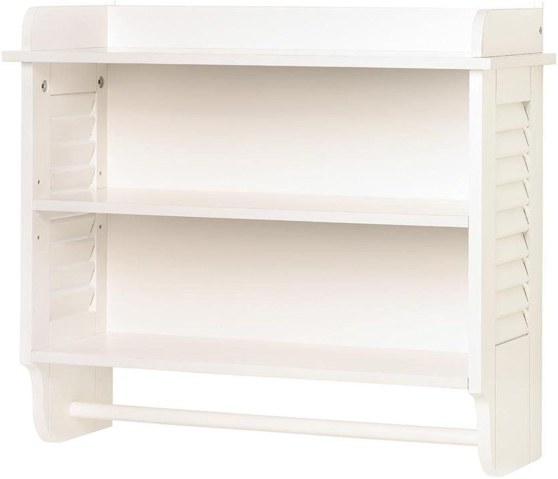 Wood Shelf Organizer, Bathroom Storage Display Decorative White Wall Shelf