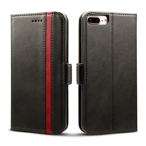 Rssviss Housse iPhone 8 Plus, Etui pour iPhone 6/6s/7/8 Plus en Cuir PU Poche Universel [4 emplacements pour Cartes et Monnaie] avec [Fermeture magntique] Coque iPhone 7 Plus Carte Rabat 5,5' Noir