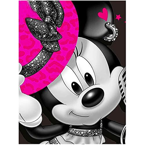 Kits de pintura de diamantes DIY 5D, Ksopsdey Kit de punto de cruz con diseño de Mickey Mouse Love para decoración de pared para la decoración de la pared del hogar 30 * 40 CM