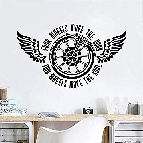 Motorrad Wandtattoo Zwei Räder Bewegen Die Seele Zitat Wandaufkleber Vinyl Motorrad Wandbild Neue Gestanzte Vinyl Aufkleber Größe 57 X 33 Cm