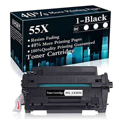 1 Black 55X   CE255X Toner Cartridge Replacement for HP Laserjet Pro P3015 P3015d P3015n P3015dn P3015x MFP M521dn MFP M521dw MFP M525dn MFP M525f MFP M525c Printer,Sold by TopInk
