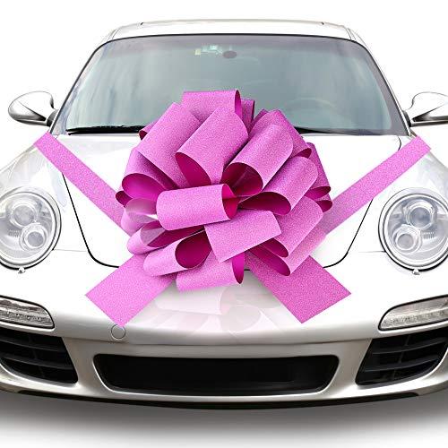 QUACOWW Rosa Riesenschleife fürs Auto, Auto-Schleife als Hochzeits-Dekoration, Weihnachtsdekoration, 1 Stück