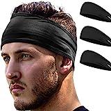 E Tronic Edge - Headband for Sports, Headbands for Men & Women, Workout, Running - Comfortable, Quick Drying Head Bands for Long Hair, Mens & Womens, Black