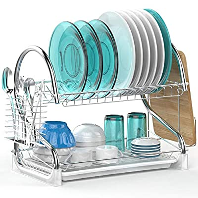 Dish Drying Rack, Veckle 2 Tier Dish Rack with ...