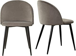 CLIPOP Juego de 2 sillas de Comedor de Terciopelo, Silla de Cocina con Respaldo y Patas de Metal, sillas tapizadas para casa y la Oficina