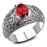 Garnet Seal Sigil of the Necronomicon Ring for Women's and Men's Ring 925 Sterling Silver Size 6-15