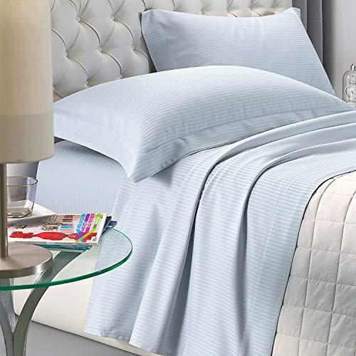NuvolaNera Set completo lenzuola letto Delux in raso di cotone con federe – alta qualità effetto cangiante – 2 Piazze Matrimoniale - Azzurro