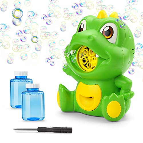 NONZERS Dinosaur Bubble Machine, Automatic Bubble Maker, 2000+Bubbles Per Minute Portable Bubble Blower with 2 Bubble Solutions for Kids Toddlers, Party Wedding Birthday Outdoor Indoor Games