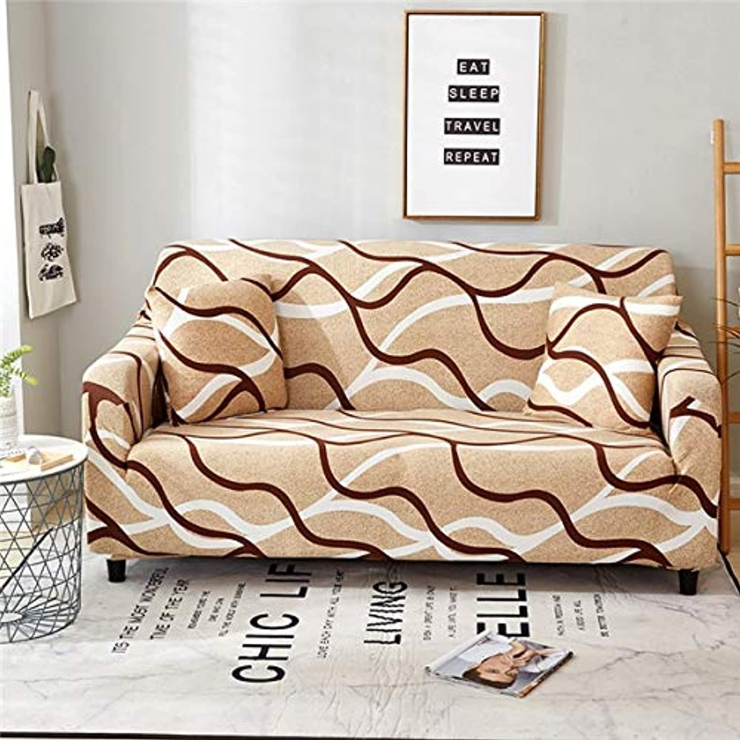 Monstera Printing Spandex Elastic Slipcovers Predective Sectional Sofa Cover Stretch All-Inclusive Couch Cover for Living Room   4, Two-Seater