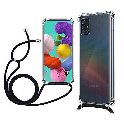 TOPACE Hülle Kompatiable mit Lanyard für Samsung Galaxy A51, [Ultra Dünn] [Stoßfest] Klar Weiche TPU Schutzhülle Kompatiable mit das Samsung Galaxy A51(Schwarz)