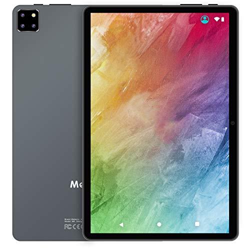 Tablet de 10 pulgadas multiaccesorios Android 10 Tab, MEBERRY 8 Core 1.6 GHz Tablet PC: 5G WIFI| Face Unlock| FHD Display| 4GB RAM + 64GB ROM| 8000mAh | Triple cámara | GPS | Teclado y ratón, gris