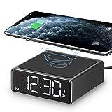 LIORQUE Reloj Despertador con Cargador Inalámbrico Qi 5W Admite hasta 7.5W/10W Apto para iPhone 8/11/X/XS/12 Plus y Smartphone Android con Qi Inalámbrica Carga - Negro