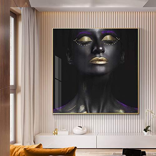 Cartel de Pintura al óleo de Mujer Africana Negra y Plateada e impresión sobre Lienzo en el salón escandinavo Mural 50x50cm