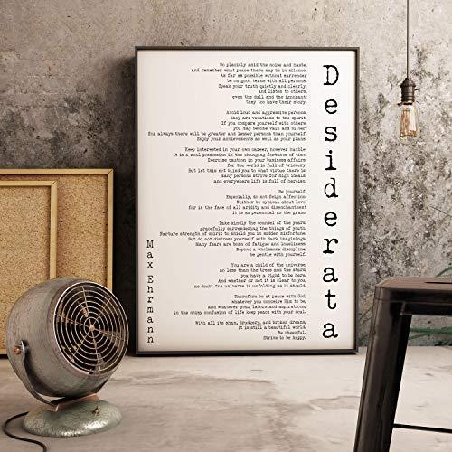Gerahmter Kunstdruck, Desiderata-Gedicht, Minimalistisches Poster, Max Ehrmann, gerahmtes Kunst, Literarisches Zitat, Druck, motivierendes Poster, gerahmte Wandkunst, 30,5 x 40,6 cm