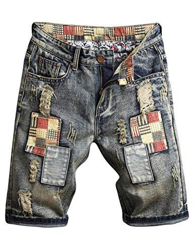 IDEALSANXUN Men's Embroidery Pattern Ripped Slim Biker Denim Shorts (36, 773 Grey)