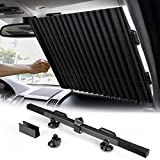 WochiTV Windshield Retractable Sunshade Blocks 99% UV Ray Heat Insulation to Keeps Your Vehicle Cool Foldable Front Window Visor Protector for Car Truck SUV with Vacuum Suction Cup (59x 25.5 Inch