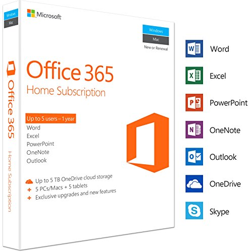 Microsoft Office 365 Home 5 PC/Mac, Multi device 1 Year Licence