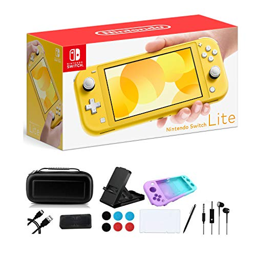 """Newest Nintendo Switch Lite - 5.5"""" Touchscreen Display, Built-in Plus Control Pad, iPuzzle 9-in-1 Carrying Case, Built-in Speakers, 3.5mm Audio Jack, 802.11ac WiFi, Bluetooth 4.1, 0.61 lbs - Yellow"""