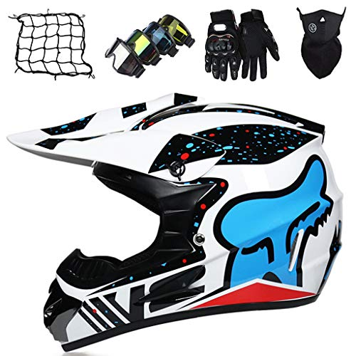 Casco Off-road MTB de Integrales, Casco de Motocross Niños, Casco Cuatriciclo Downhill Dirt Bike MX ATV Casco de Moto Cross Adultos (Guantes/Gafas/Máscara/Red eLástica), con Diseño FOX (ECE y DOT)