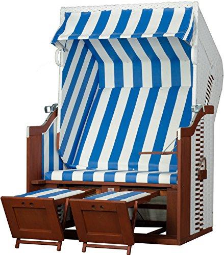 Mr. Deko Strandkorb Devries Profi Ostsee Fehmarn PE White oder Grey Strandkörbe für Gewerbe, Gastro,Garten, Wintergarten und Terrasse (Dessin 991)