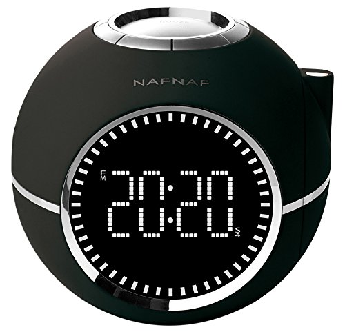 NAFNAF Clockine Radiowecker mit Projektion, schwarz DNI013