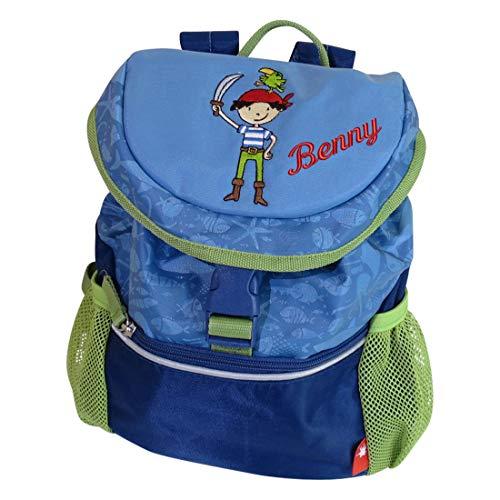 Sigikid Kindergarten Rucksack Pirat mit Namen bestickt grün blau 30 cm x 12 cm x 26 cm Sammy Samoa Kinderrucksack personalisiert