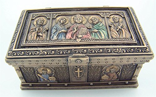 Fundido en frío bronce 12,4 cm Jesucristo San Peter St Paul ícono rosario la reliquia Joyero