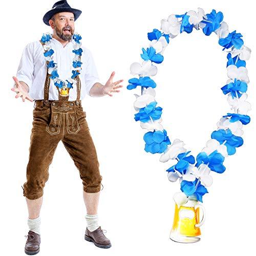 German Trendseller® - Bayern Hula - Kette Deluxe + Gratis Flaschenöffner + ┃ NEU ┃ Oktoberfest ┃ Blau / Weiß ┃ Die Halskette für Lustige Gaudis ┃ 1 Stück