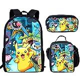 spArt Anime Pikachu Print Mochila escolar para niños y niñas, bolsa de hombro, lonchera, 3 piezas, Pokemon A8 (Multicolor) - sp-cgk