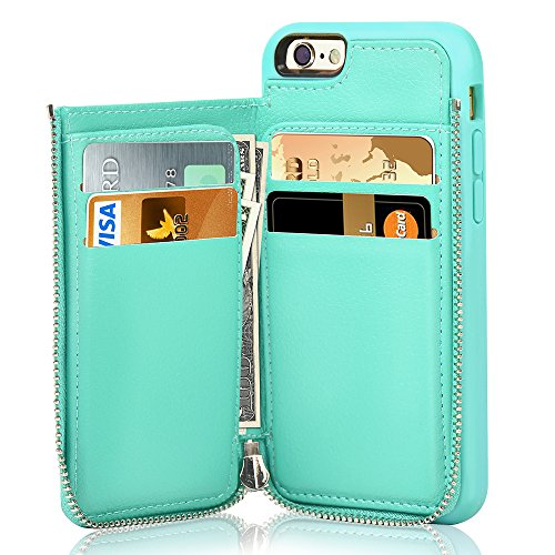 LAMEEKU iPhone 6s Wallet Case, iPhone 6 Card Holder Case, Shockproof iPhone 6 Leather Cases with Credit Card Slot Zipper Wallet Purse Money Pockets, Protective Cover for Apple 6/6s- Mint Green