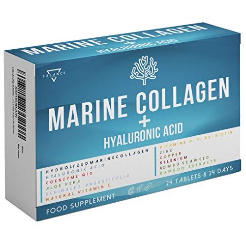 MARINE COLLAGEN MIT HYALURONSÄURE | Kollagen Kapseln | Collagen Peptide | Kollagen Hydrolysat | Haut Vitamine, Bindegewebe Straffen, Gelenke, Knochen | mit 15 Wirkstoffen, 100% natürlich