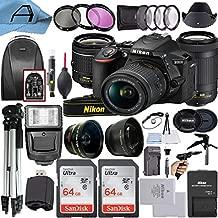 Nikon D5600 DSLR Camera 24.2MP Sensor with NIKKOR 18-55mm VR and 70-300mm Dual Lens, 2 Pack SanDisk 64GB Memory Card, Backpack, Tripod, Slave Flash Light and A-Cell Accessory Bundle (Black)