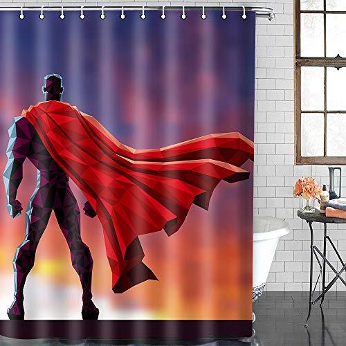 EULIFE ZDEU594 Superman Duschvorhang-Set, Polyester, 183 x 183 cm, schnelltrocknend, wasserfest, Anti-Schimmel, mit 12 Haken, Rot