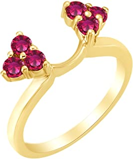 AFFY Christmas Holiday Sale Simulated Ruby Enhancer Wrap Ring in 14k Solid Gold