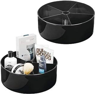 mDesign organiseur de cosmétiques Lazy Susan (lot de 2) – serviteur de douche rotatif à 360° – rangement de salle de bain ...