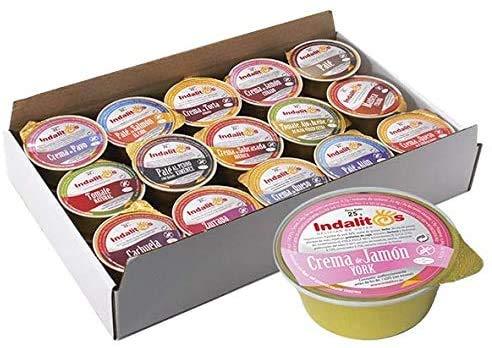 Indalitos - Crema de Jamón York - Bandeja 18 Monodosis de 25gr