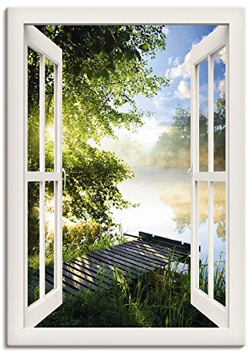 Artland Leinwandbild Wandbild Bild Leinwand 70x100 cm Wanddeko Fensterblick Fenster Landschaft Wald Natur See Angelsteg Sonne Frühling T1JK
