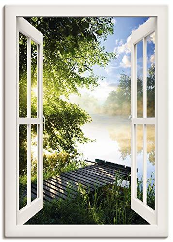Artland Leinwandbild Wandbild Bild auf Leinwand 70x100 cm Wanddeko Fensterblick Fenster Landschaft Wald Natur See Angelsteg Sonne Frühling T1JK