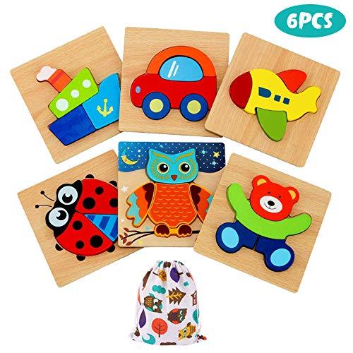 IMMEK Puzzles de Madera Juguetes para Bebes 1 Año 2 3 4 5 Años Montessori Educativos Rompecabezas Juegos Niñas y Niños Infantile Regalo Preescolar de Aprendizaje Temprano Animales y Vehículos 6 Piezas