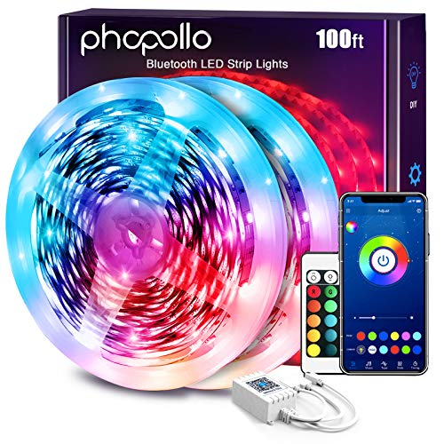 PHOPOLLO Led Lights for Bedroom 100 ft Phone App Control Bluetooth Music Sync Built in High Sensitivity Mic Smart Led Strip Lights with 24 Key Remote Color Changing Flexible 5050 Led Ribbon