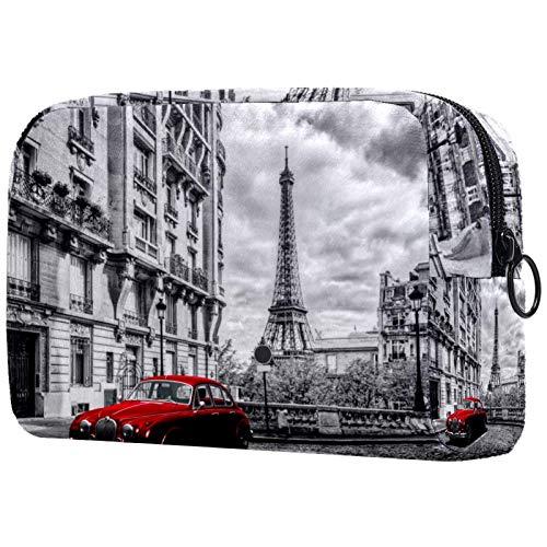 Bolsa de cosméticos para Mujeres Torre Eiffel del Coche Rojo de París Bolsas de Maquillaje espaciosas Neceser de Viaje Organizador de Accesorios