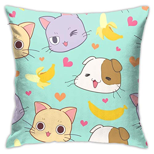 iksrgfvb Pillowcases Cushion Covers decoration Bark Seamless Pattern Cute Cat, Banana And Heart 每 Vector on the Sofa car bed 45X45 CM